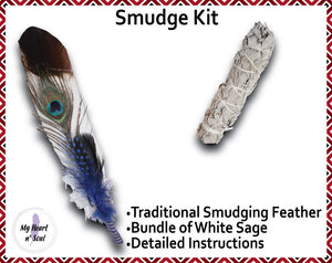 Smudge Kit: White/Brown tip Feather. Energy, Home, Cleansing Clearing kit. Blue Accent.
