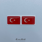 2er Set Türkei 3D Gel Aufkleber Fahne Turkey Flagge Sticker