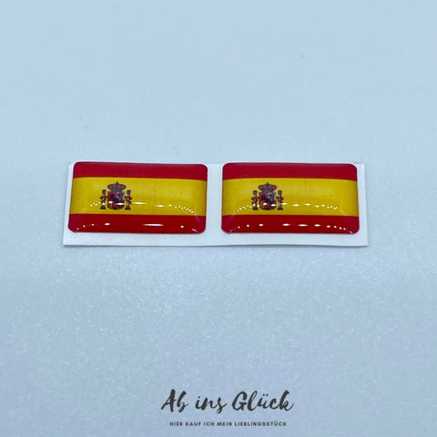 2er Set Spanien 3D Gel Aufkleber Fahne Flagge Sticker