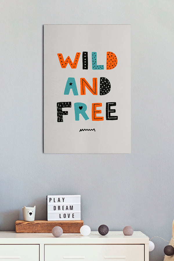 Placa Wild and Free 30cm x 44cm
