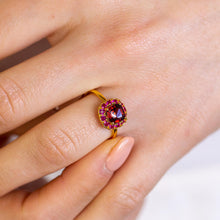 Load image into Gallery viewer, DEVOTION Garnet and Ruby Halo Ring