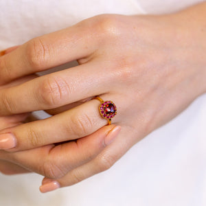 DEVOTION Garnet and Ruby Halo Ring