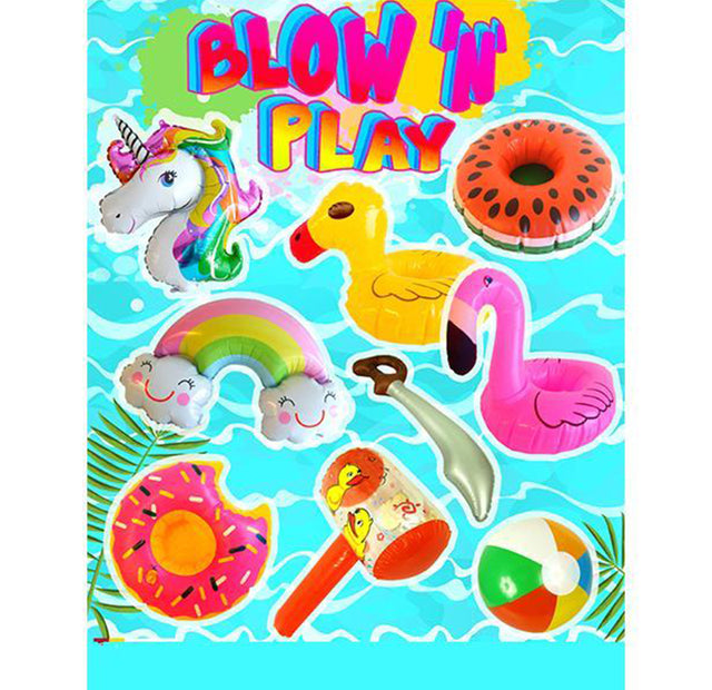 "Blow 'N' Play Inflatables Assorted Mix (x170) 90mm / 4"" Vending Prize Capsules"