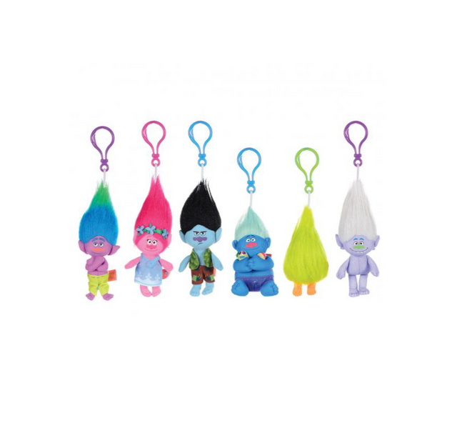 "Trolls Bag Clips - 6"" / Size 1 - Assorted Licensed Prize Plush Toy (x180)"