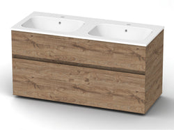 Bathroom wall mout vanity with double sink 120 cm Vanity Grittel Knotty oak nature