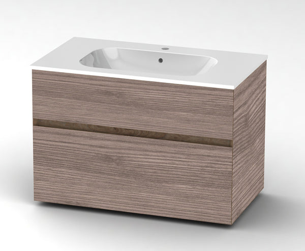 Bathroom wall mout vanity with sink 90 cm Vanity Grittel Hazelnut ash