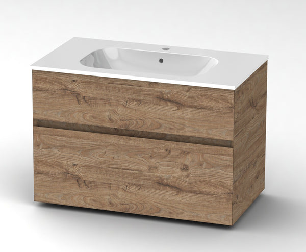 Bathroom wall mout vanity with sink 90 cm Vanity Grittel Knotty oak nature