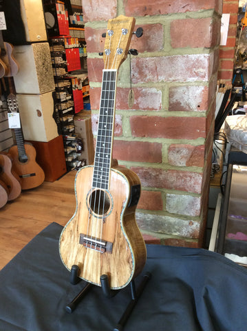 Blackwater spalted maple electro acoustic concert ukulele left handed