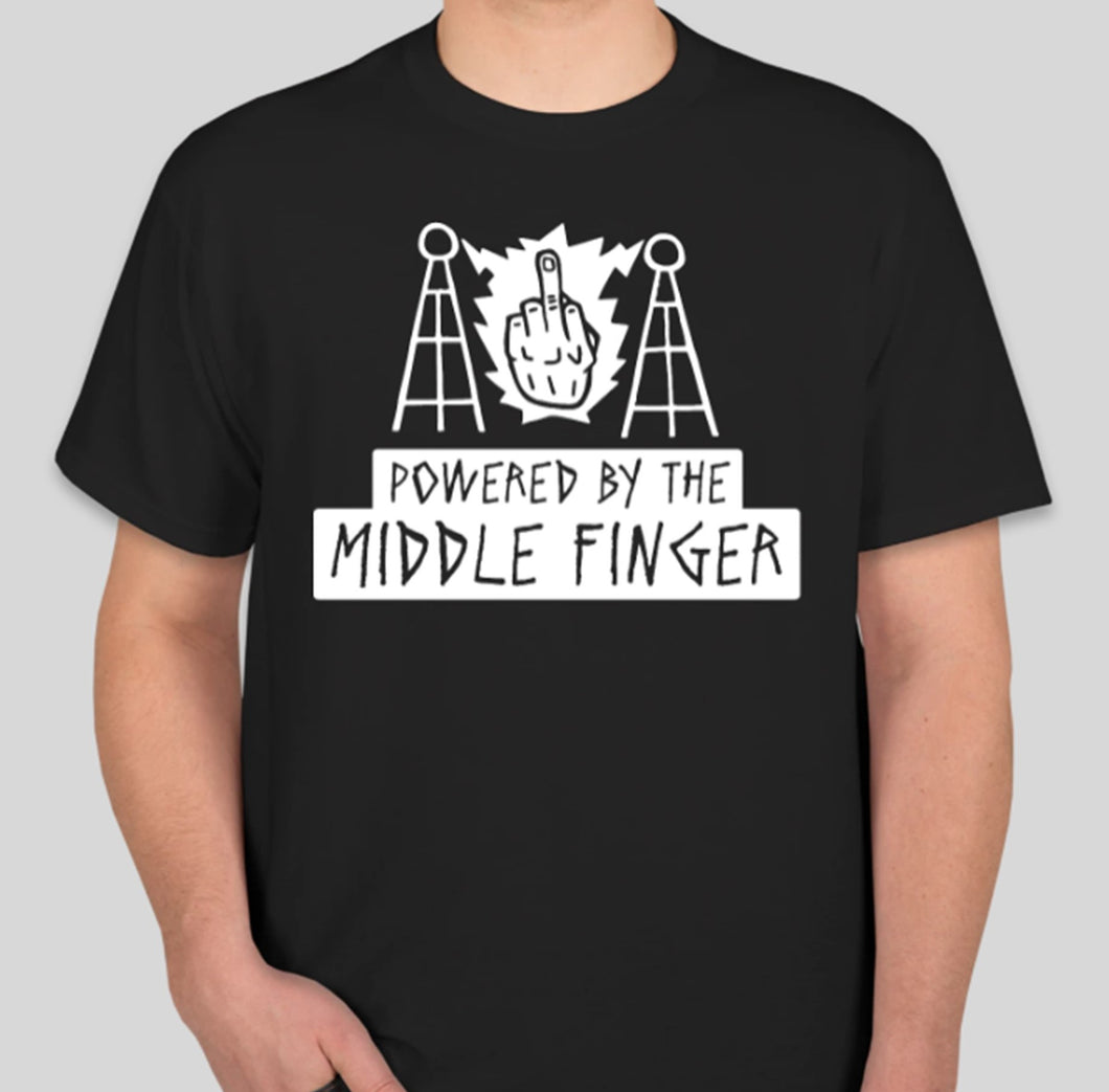 Powered by the Middle Finger Logo Tee