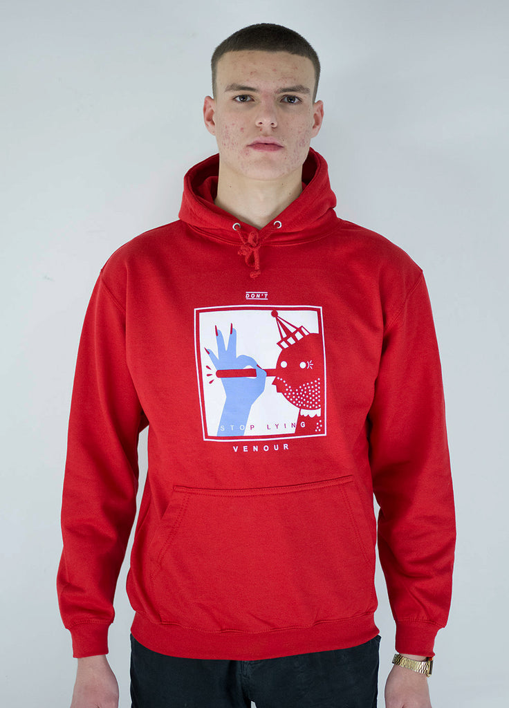 NEVER STOP LYING - RED HOODIE