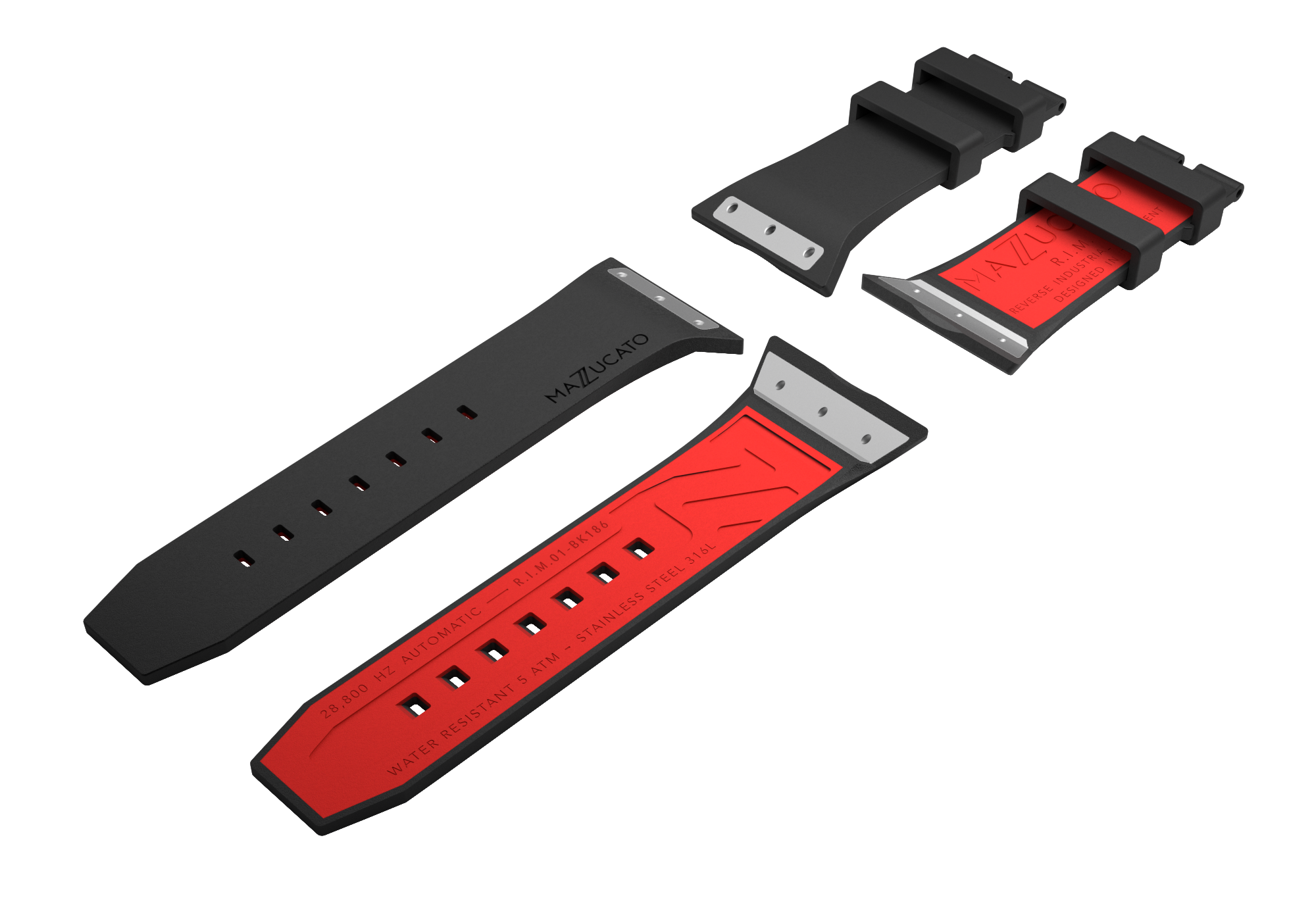 RIM Black Red Rubber Strap