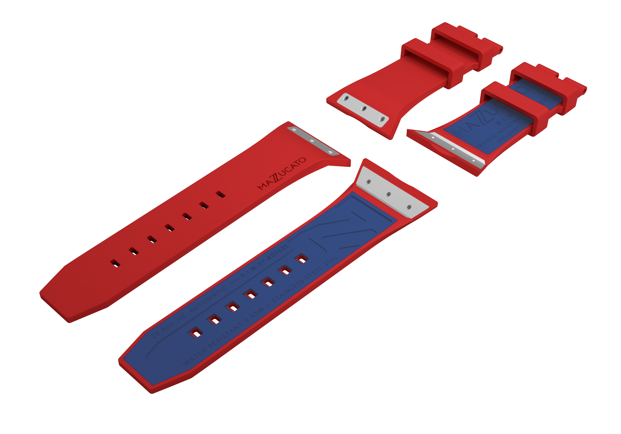 RIM Red Blue Rubber Strap