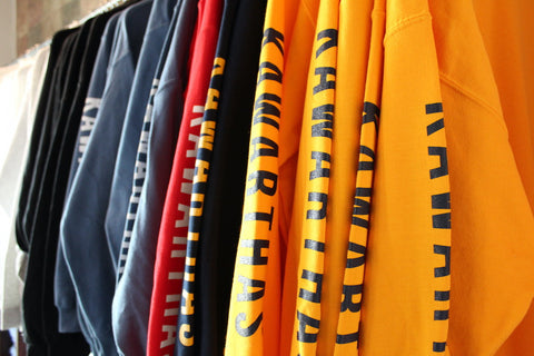 Kawarthas crewneck sweaters hanging side-by-side at Seven Forty Six Shop