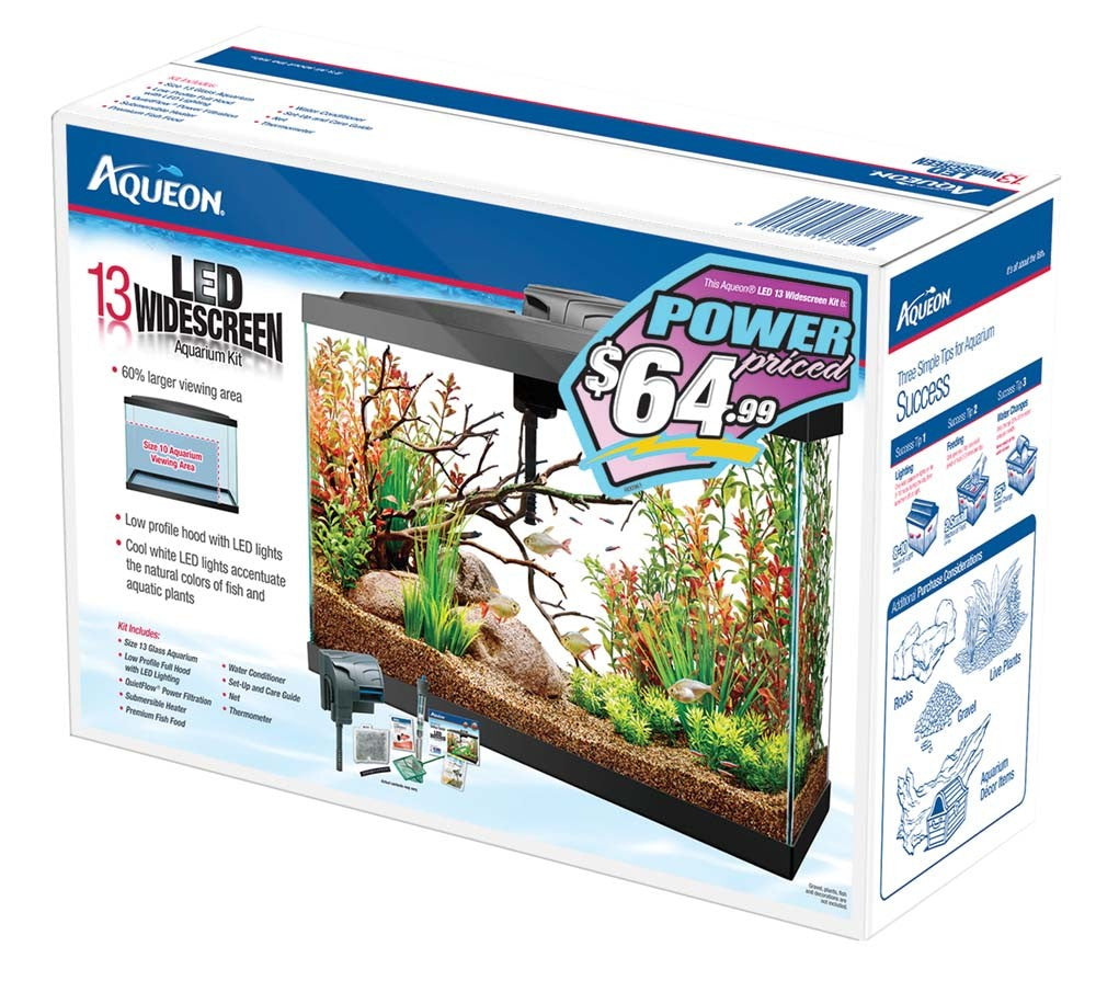 Aqueon Pre Priced Widescreen LED Kit Black 13gal