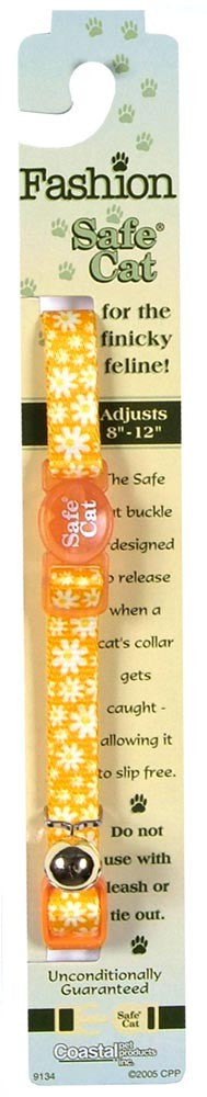 Coastal Safe Cat Fashion Adjustable Breakaway Collar Daisy Yellow 3/8X12