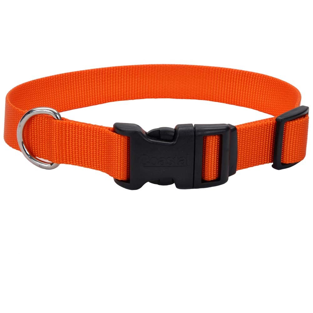 Coastal Adjustable Nylon Dog Collar with Plastic Buckle Sunset Orange 3/8X8-12in
