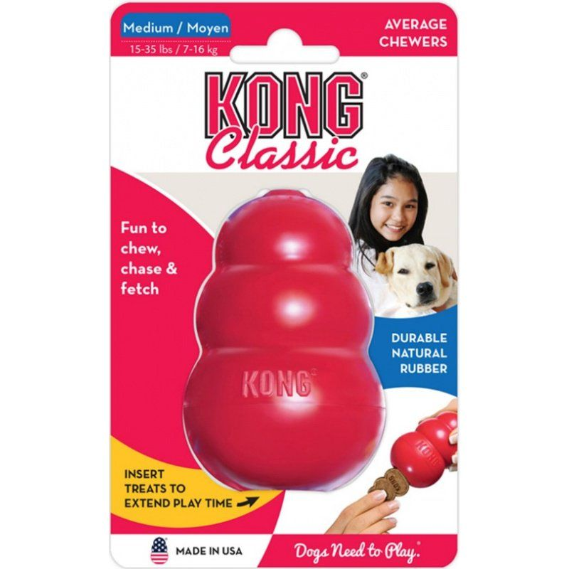 "Kong Classic Dog Toy - Red - Medium - Dogs 15-35 lbs (3.5"" Tall x 1"" Diameter)"
