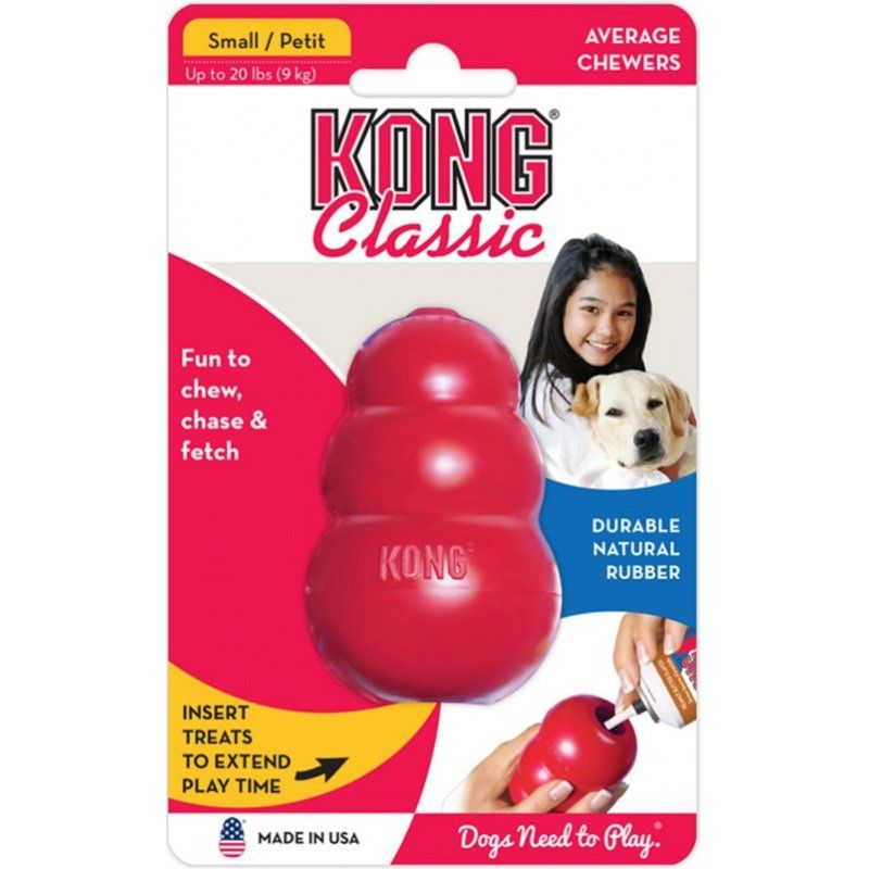 "Kong Classic Dog Toy - Red - Small - Dogs up to 20 lbs (2.75"" Tall x .75"" Diameter)"