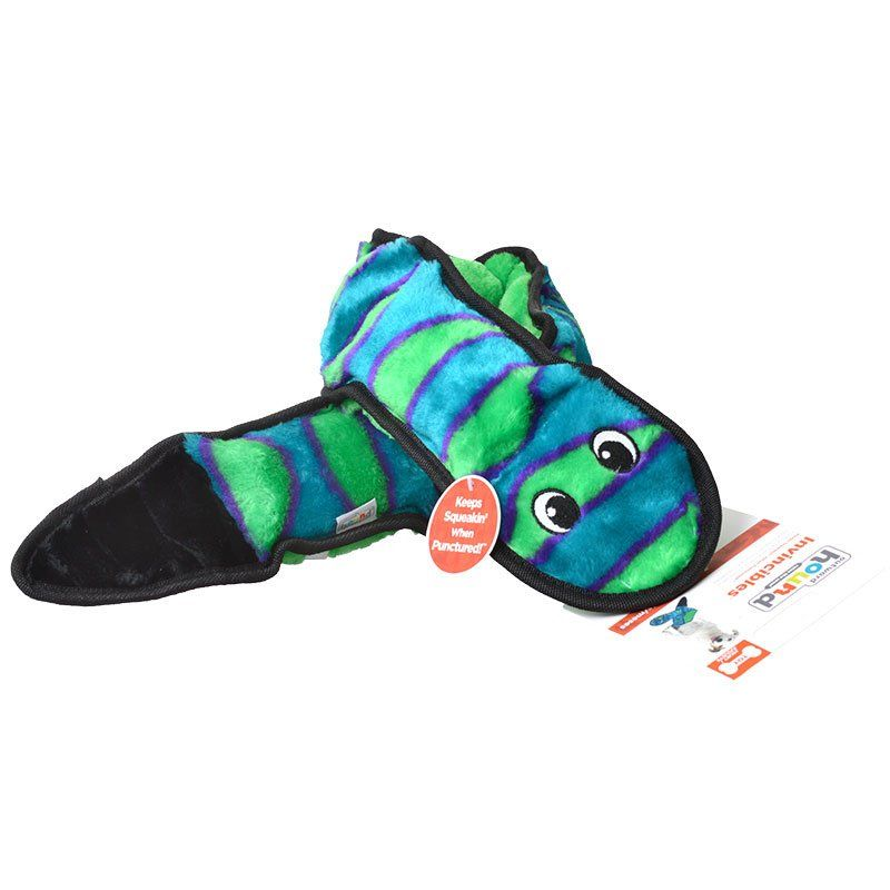 "Invincibles Green & Black Squeaker Snake Dog Toy - 6 Squeakers - 39"" Long"