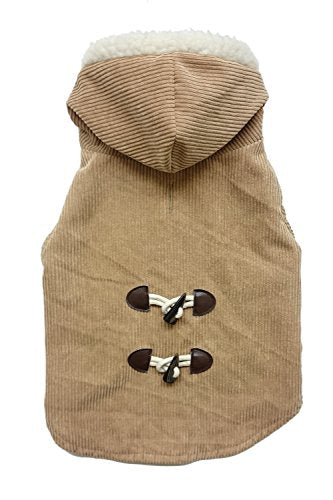 Fashion Pet 752793 Camel Outdoor Dog Corduroy Toggle Coat, X-Small