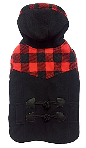 Fashion Pet 752617 Black Outdoor Dog Toggle Plaid Trim Coat, X-Large