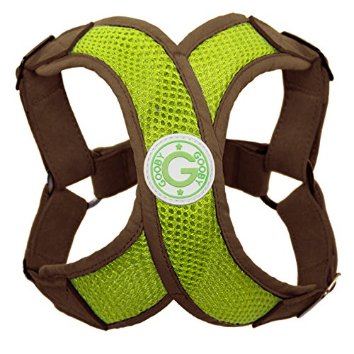 Gooby - Perfect Fit X Harness, Small Dog Choke Free Step-In Harness with Synthetic Lambskin Soft Strap, Green, Small