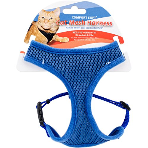 "Coastal Pet Comfort Soft Adjustable Cat Mesh Harness, Blue, 14"" to 16"" Girth Size (1-Unit)"