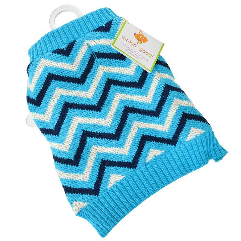 "Lookin' Good Chevron Dog Sweater - Blue - Large (Dogs 19""-24"" Neck to Tail)"