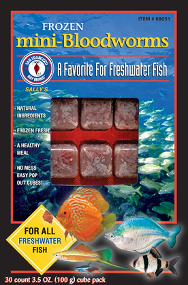 San Francisco Bay Brand Frozen Bloodworms Mini Fish Food Cubes 3.5oz