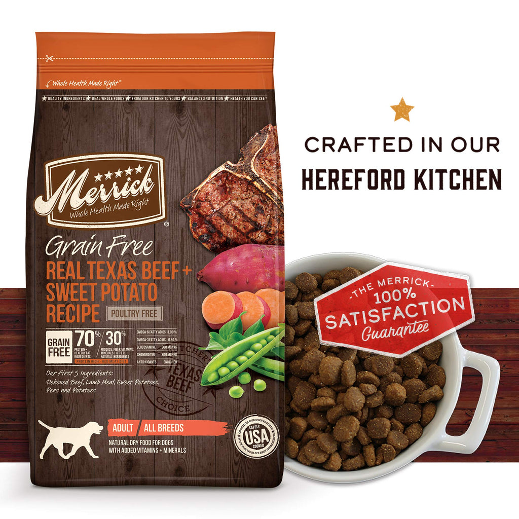 Merrick Grain Free Dry Dog Food Recipes, Texas Beef, 4 Pound