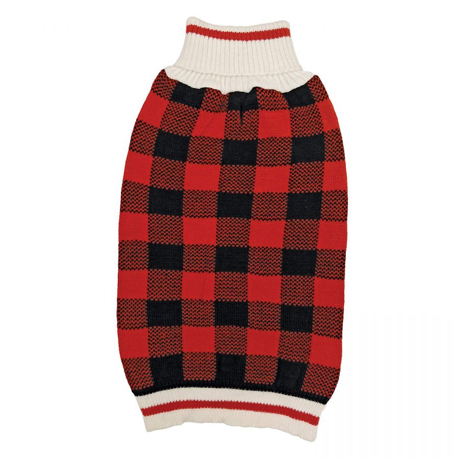 "Fashion Pet Plaid Dog Sweater - Red - Small (10""-14"" Neck to Tail)"