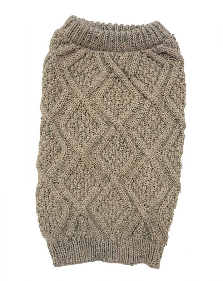 "Outdoor Dog Fisherman Dog Sweater - Taupe - Medium (14""-19"" Neck to Tail)"