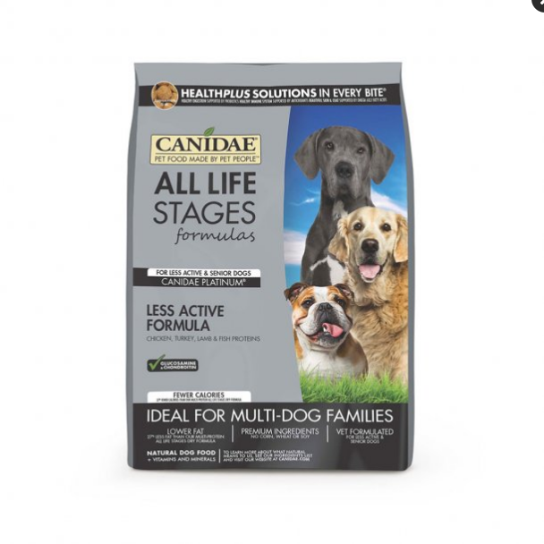 Canidae All Life Stages Platinum Less Active Multi-Protein Formula Dog Food 15 Lbs