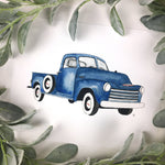 Vintage Blue Truck Watercolor Art Print