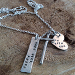 I am with you three charm prayer necklace