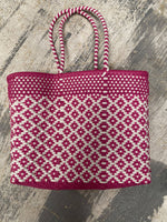"Oaxaca Bag (14""x11""x6"") 10"" Handle-Fuschia & White"