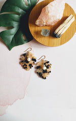 Pearl & Monstera Leaf Earrings
