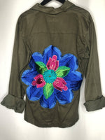 Vintage Italian Military Jacket with Embroidered Flower