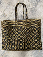 "Oaxaca Bag (14""x11""x6"") 6"" Handle-Black & Gold"