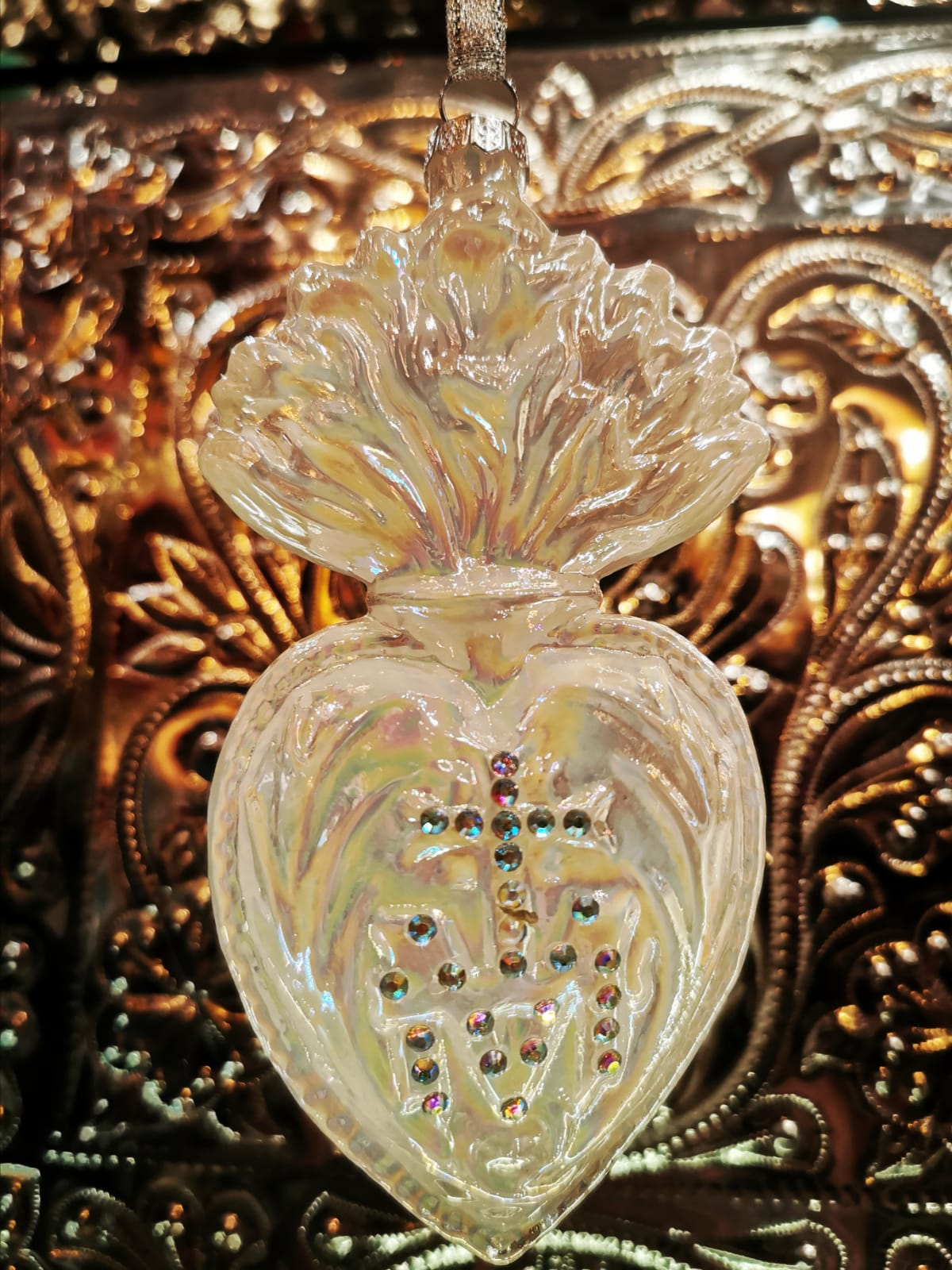 Ivory sacred heart christmas decoration