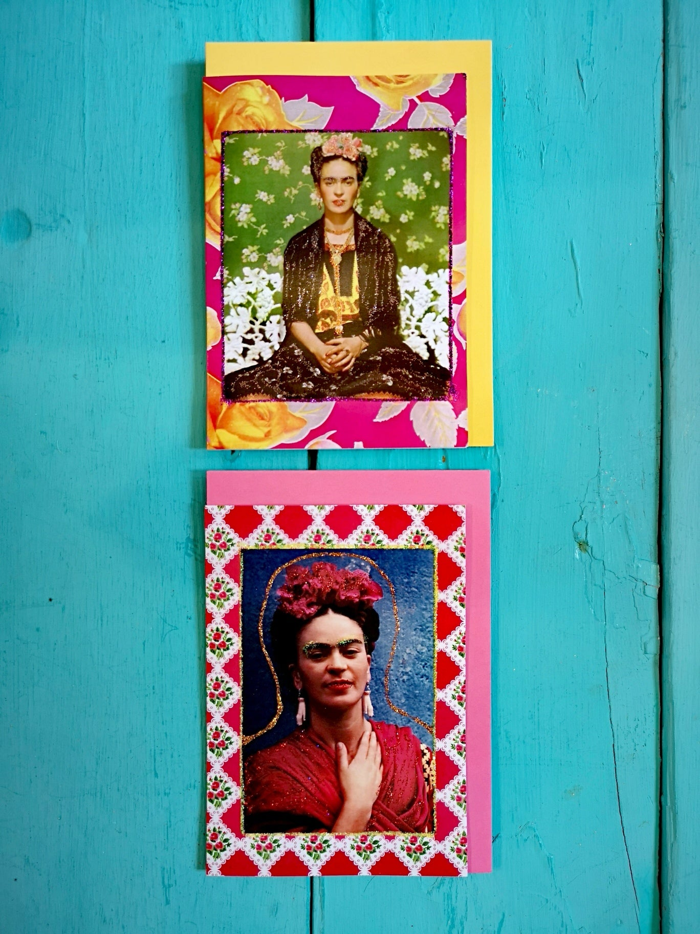 Hand glittered Frida Khalo card set