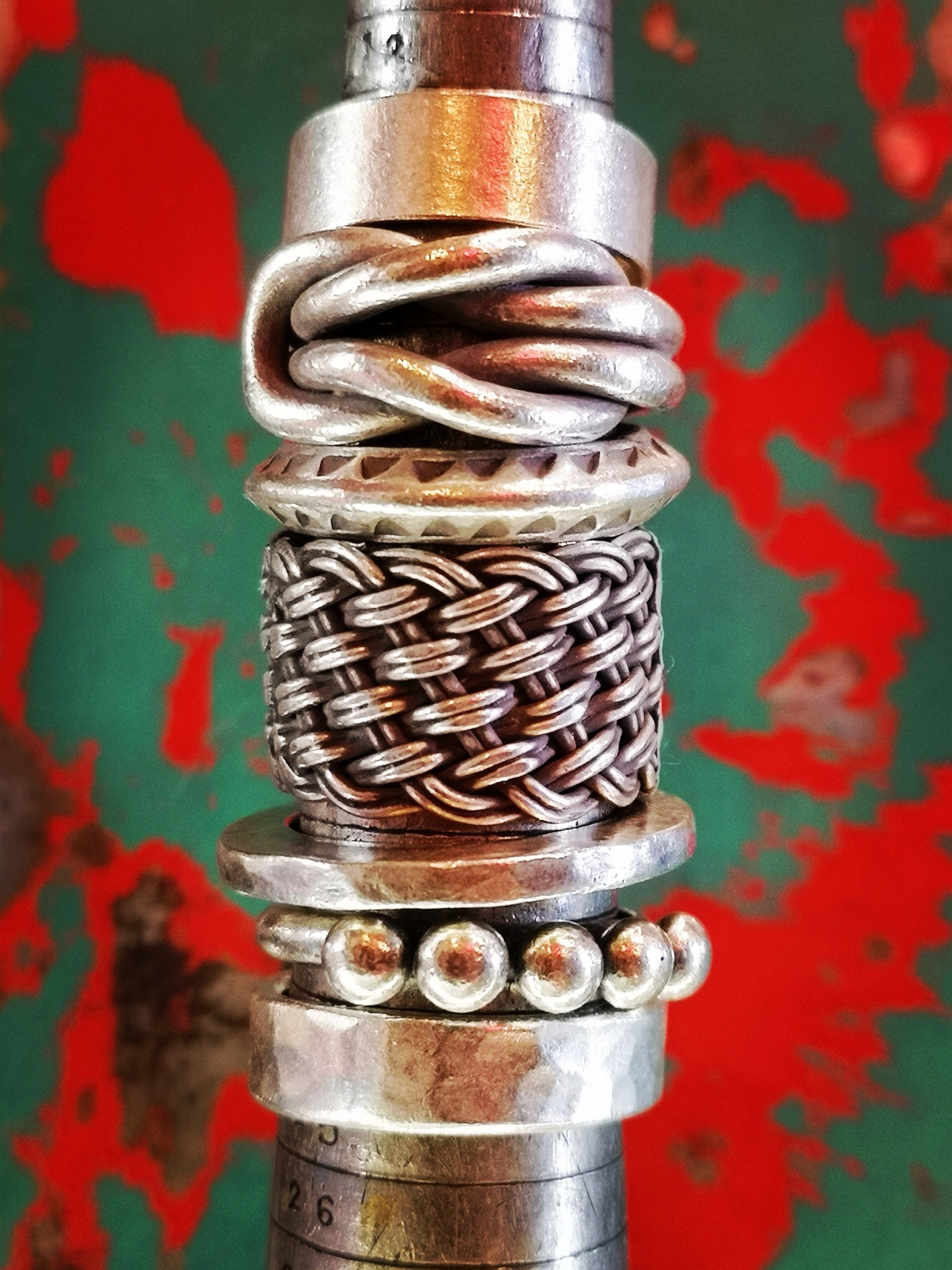 Hill tribe arrow stamped ring