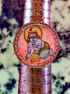 Hand painted hindu god miniatures. Baby krishna ring