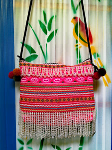 Flower Hmong upcycled textile cross shoulder bag