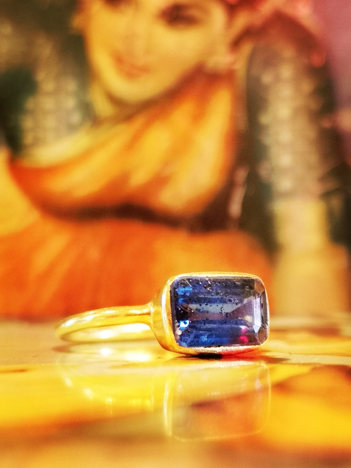 Gold plated kyanite ring