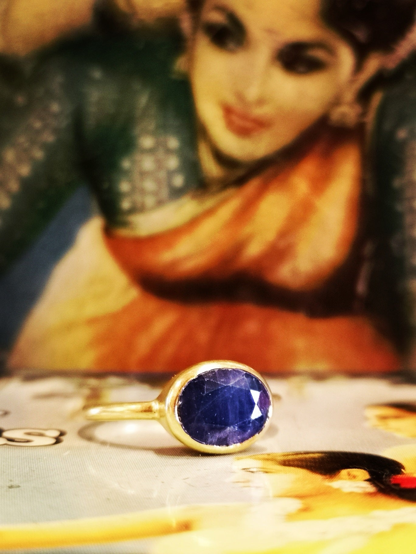 Gold plated sapphire ring