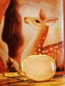 Gold plated rose chalcedony ring