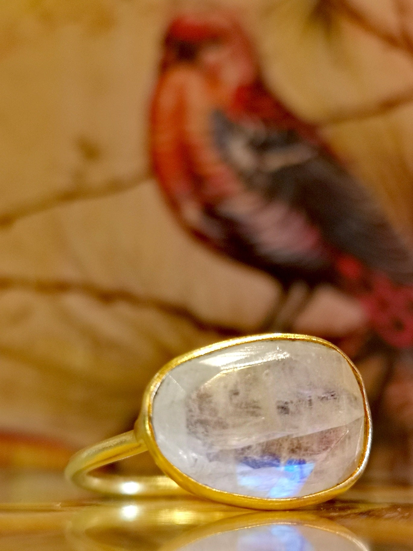 Small gold plated moonstone ring