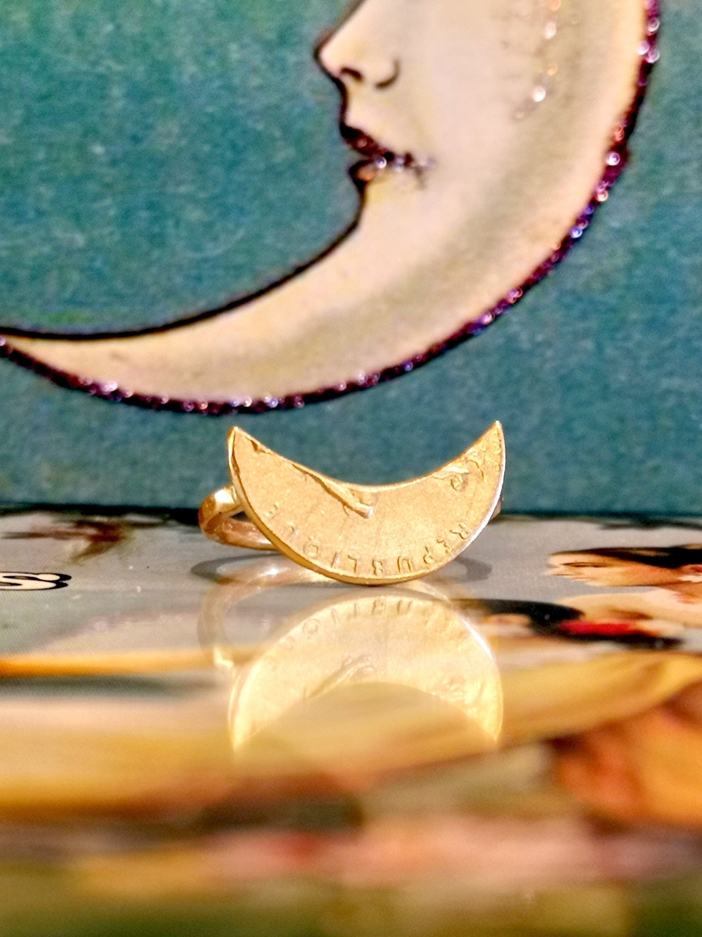 Gold plated upcycled crescent coin ring