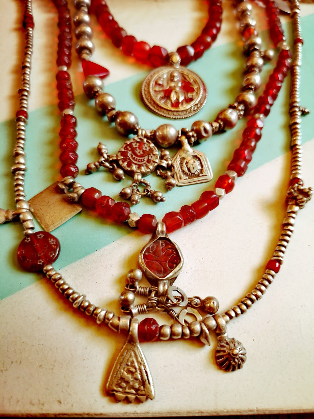 Antique bohemian glass & antique silver necklace